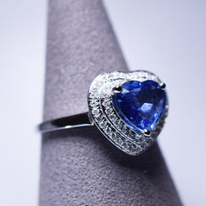 Blue Sapphire Ring - 1.79 cts Heart