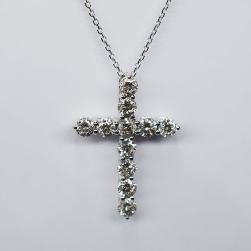 Diamond Pendant - 1.04 ctw Cross