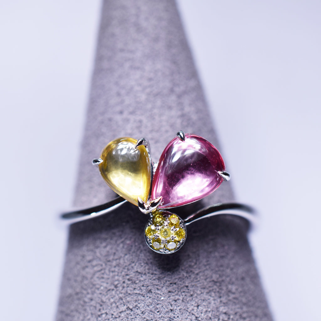 Yellow Pink Sapphire Ring