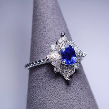Load image into Gallery viewer, Blue Sapphire Ring - Flower