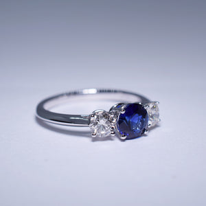 Sapphire and Diamond Ring - Trilogy
