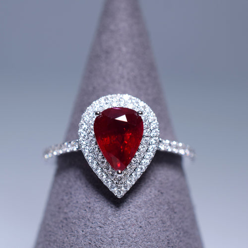 Ruby Ring - 1.29 cts Pear Shape
