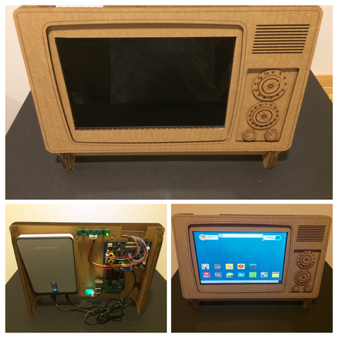 battery operated retro tv hdmi cardboard stand for your raspberry pi itaparcade. Black Bedroom Furniture Sets. Home Design Ideas