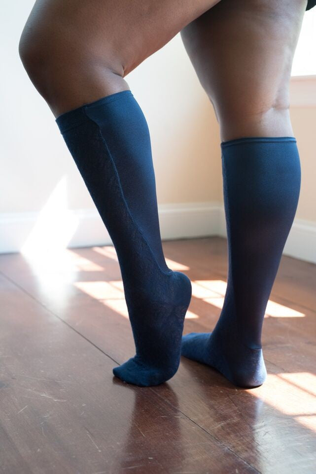 Brocade Textured Wide Calf Knee High Sock - Lipedema Products