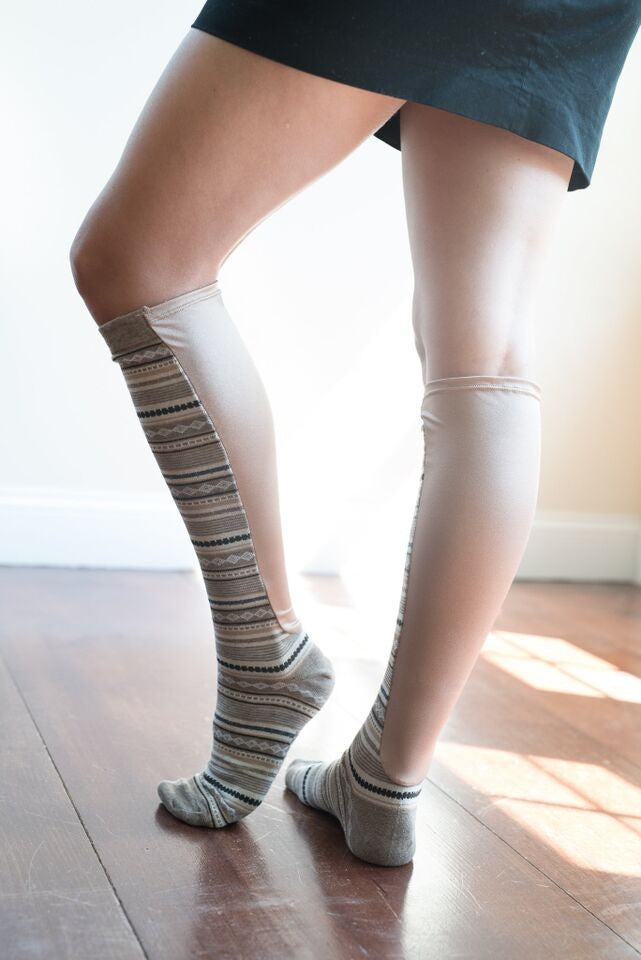 Diamond Textured Wide calf Knee High Socks - Lipedema Products