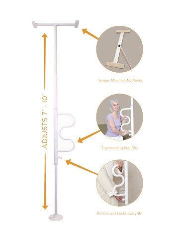 Stander Security Pole and Curve Grab Bar - Lipedema Products