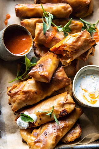 The Ultimate Baked Buffalo Chicken Spring Rolls