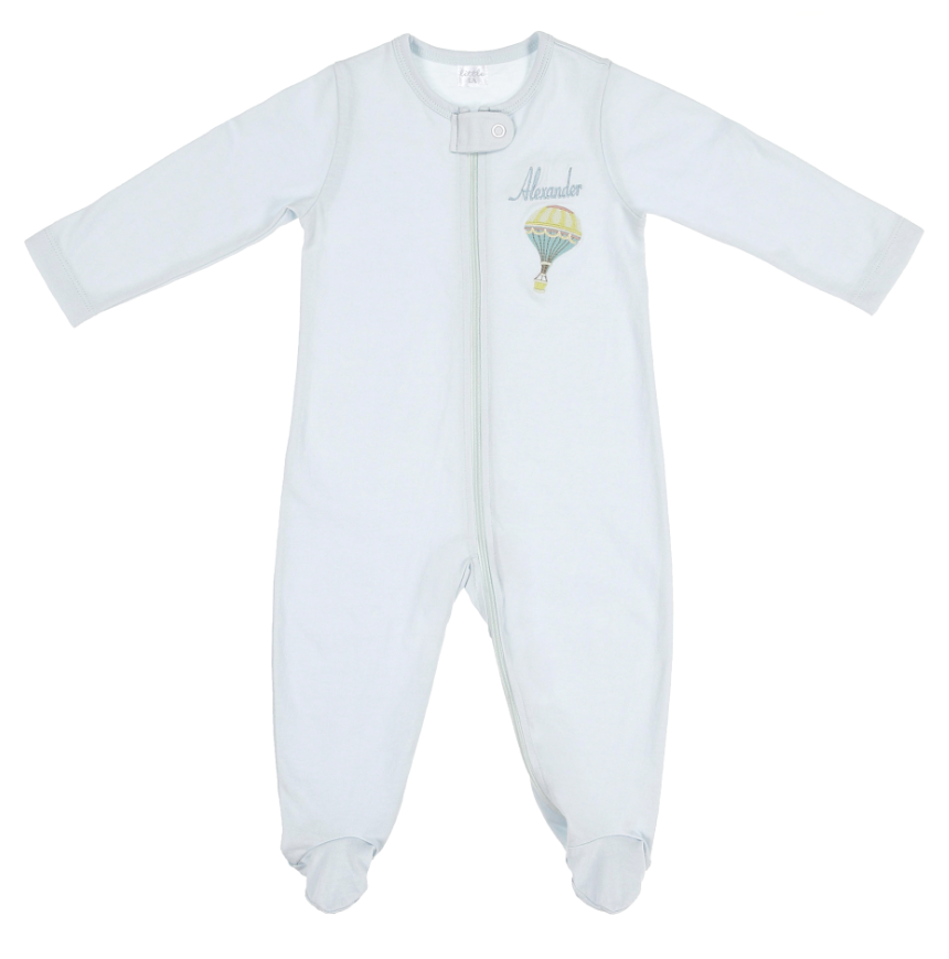 Blue Zip-Up Organic Cotton Sleepsuit - Little IA
