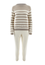 Load image into Gallery viewer, Striped Beige & Cream Cashmere Cotton Tracksuit - Little IA