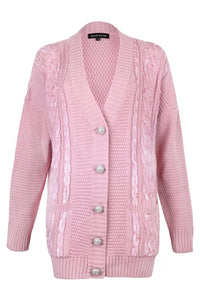 Pink Sequin Embellished Cable Cardigan (Mummy)