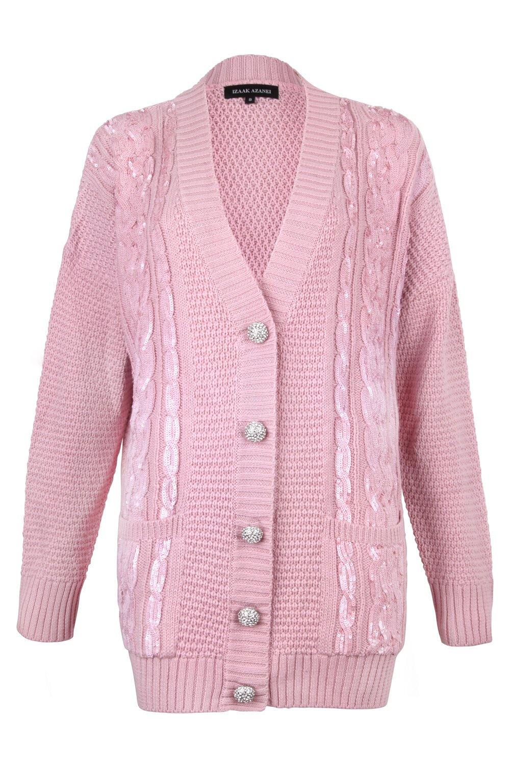 Pink Sequin Embellished Cable Cardigan (Mummy) - Little IA