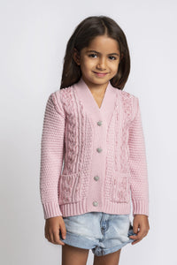 Pink Sequin Embellished Cable Cardigan
