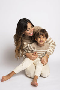 Striped Beige & Cream Cashmere Cotton Tracksuit - Little IA