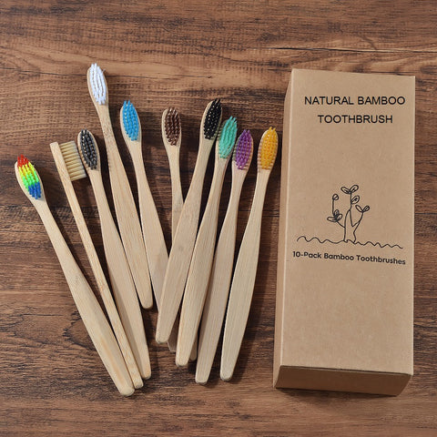 bamboo toothbrush Eco Friendly wooden Tooth Brush Soft bristle Tip Charcoal