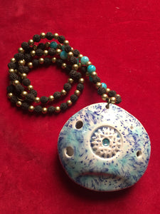 Ocarina flute blue glaze with bead necklace