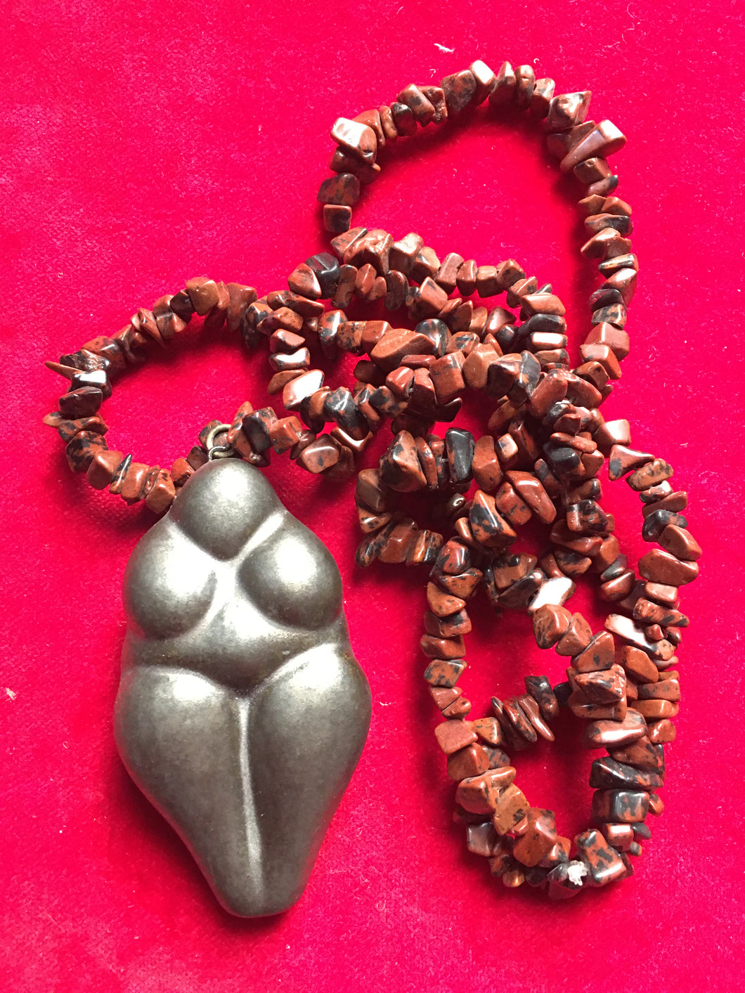 Ocarina flute metallic glaze goddess with jasper stone bead necklace