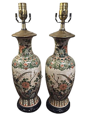 Pair, Old Asian Crackle Glaze Lamps