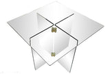 Vintage Beveled Glass Top Criss Cross Table