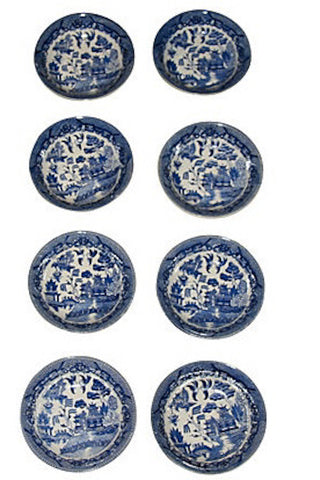 Early Vintage Set of 6 Blue Willow Berry Bowls, Japan