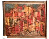 Mid century oil on canvas City Scape Mel Silverman