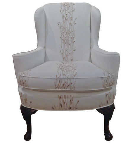Vintage Wing Back Chair - New White Linen Upholstery