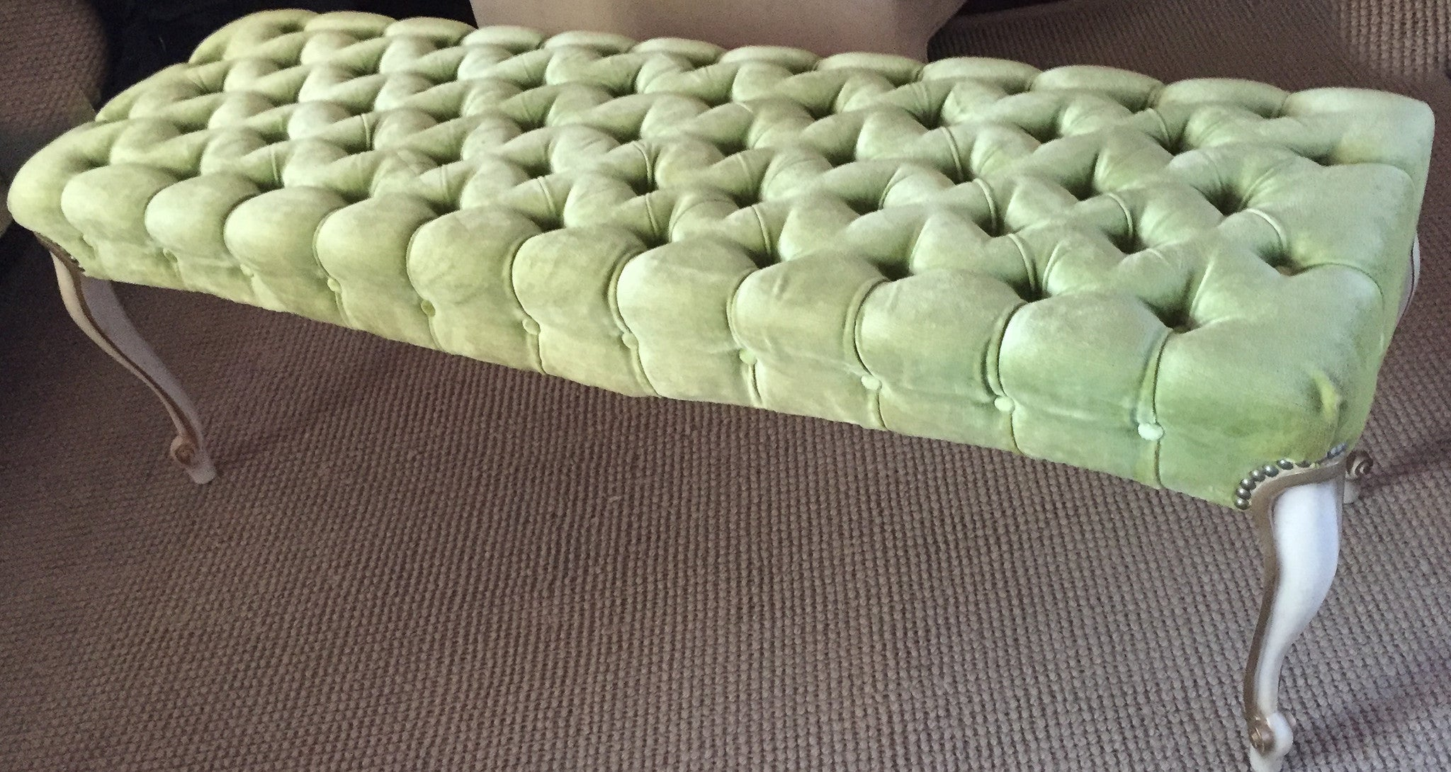 Mid Century Chartreuse Velvet Tufted Top Bench with Nail Heads