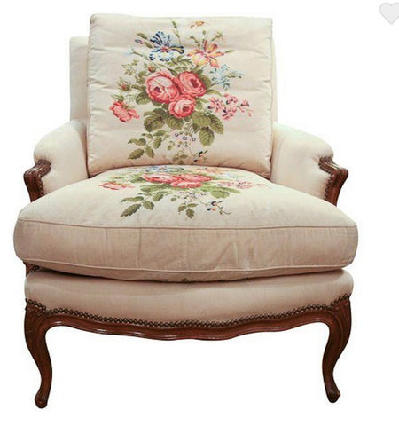 Antique French Louis XV Style Chair in Embroidered Silk