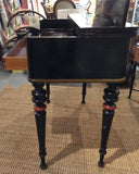 Antique Black Spinet Desk, Console Table