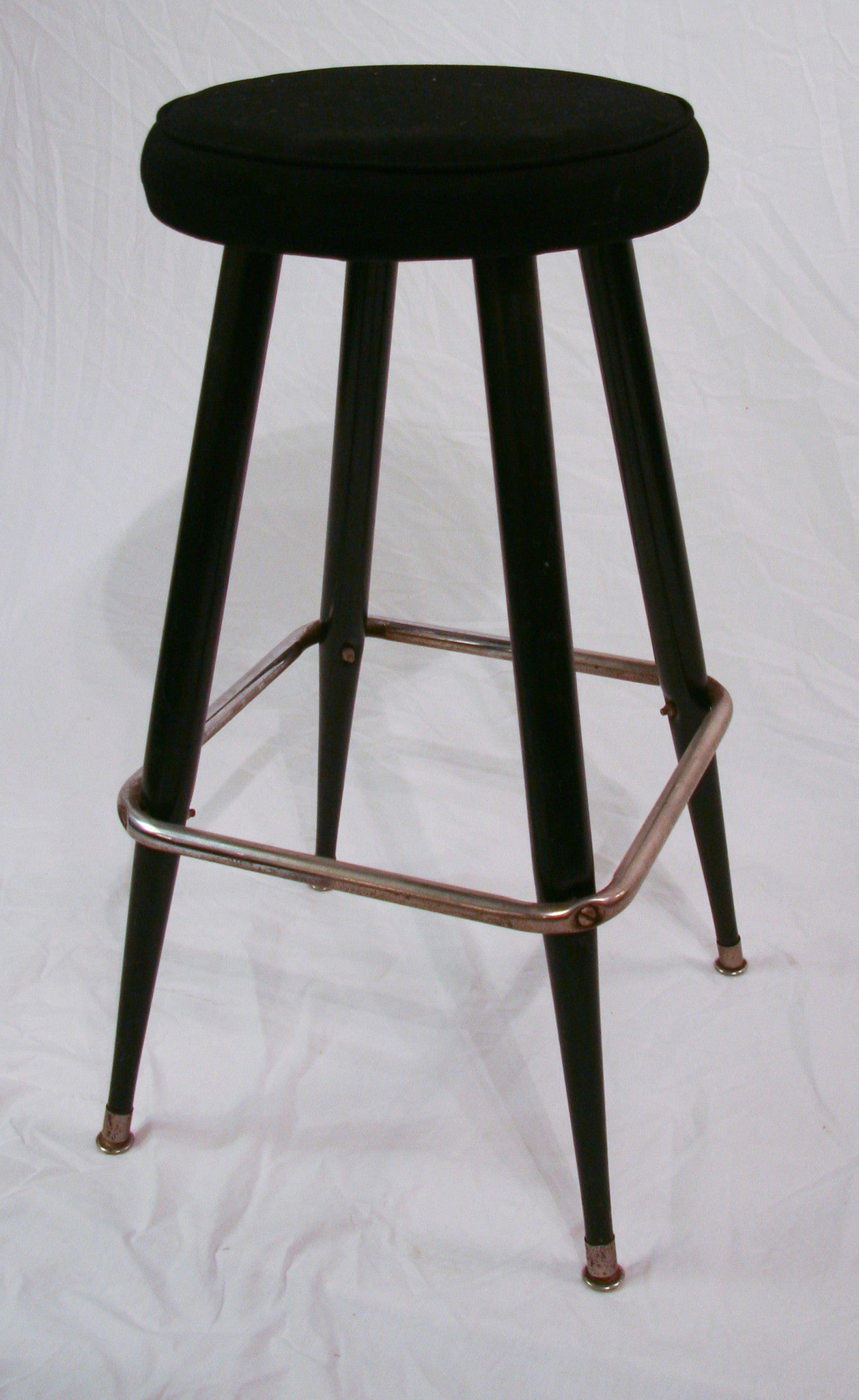 Mid Century, vintage Chrome and Black Linen Bar or Counter Stool