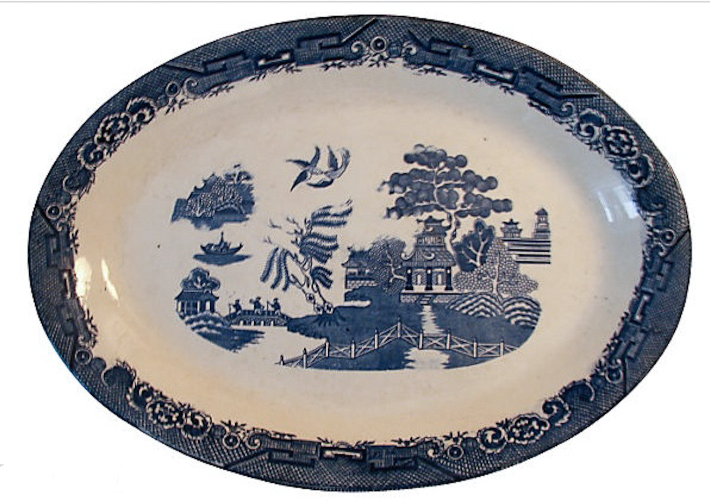 Antique Bennet Blue Willow Platter