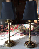 Vintage Small Brass Buffet Lamps, A Pair