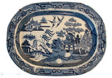 Antique English Blue Willow Platter with Original Hanger