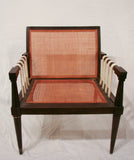 Mid Century Caned Chair, Strapped Sides
