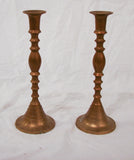 Pair, Brass finish metal Candle Holders