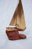 Vintage Brass Boat Sculpture Sitting on old Driftwood