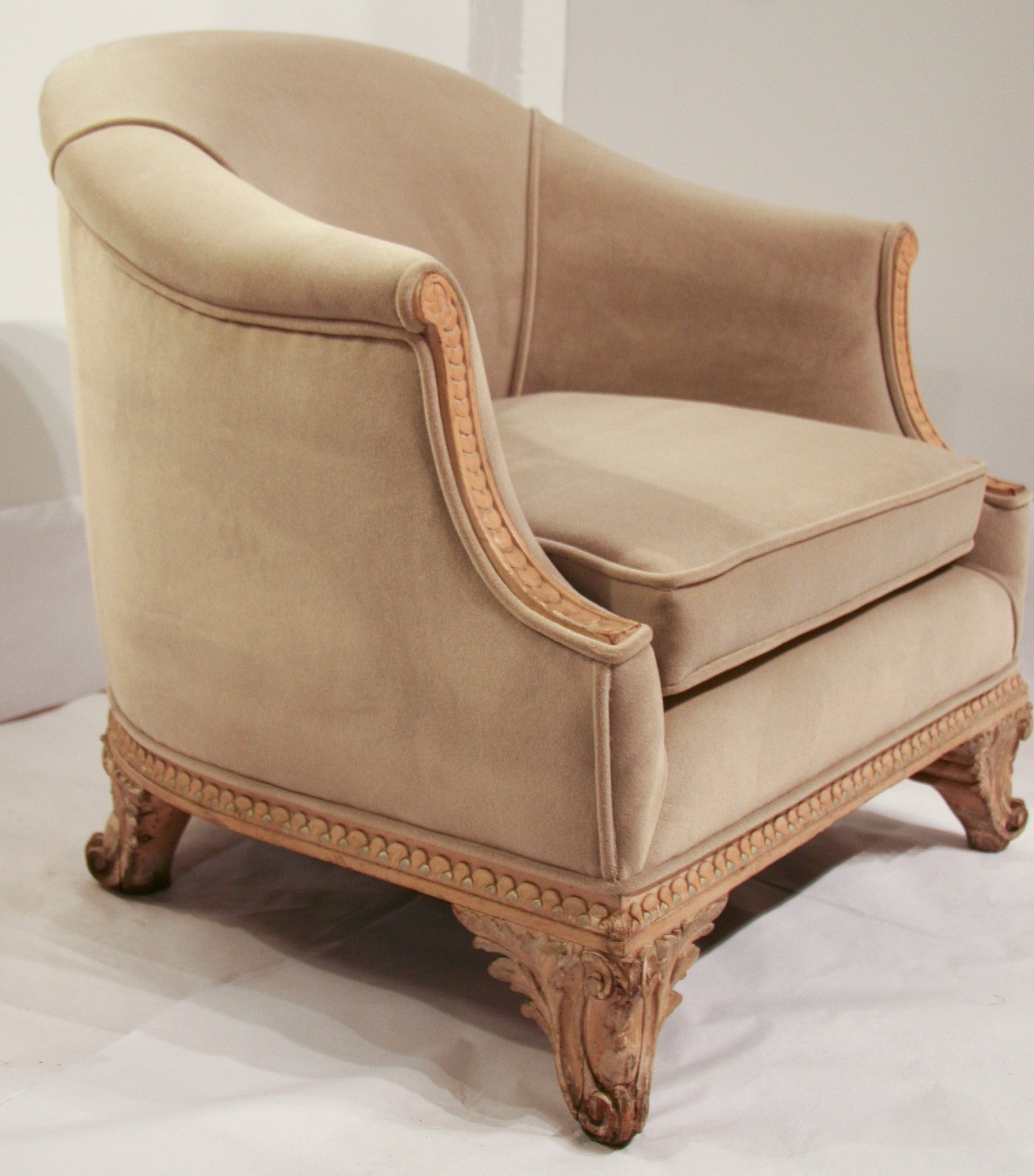 French Carved Chair in Velvet