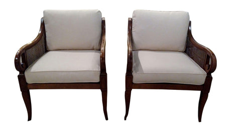 Pair, Mid Century Caned Scroll Arm Chairs