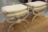 Pair, Mid Century Hollywood Regency French Style Benches, Stools