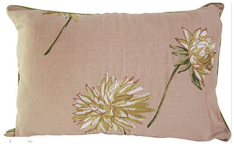 New Pillow, made from Designer Linen Fabric, Beige w/ Embroidered Flowers