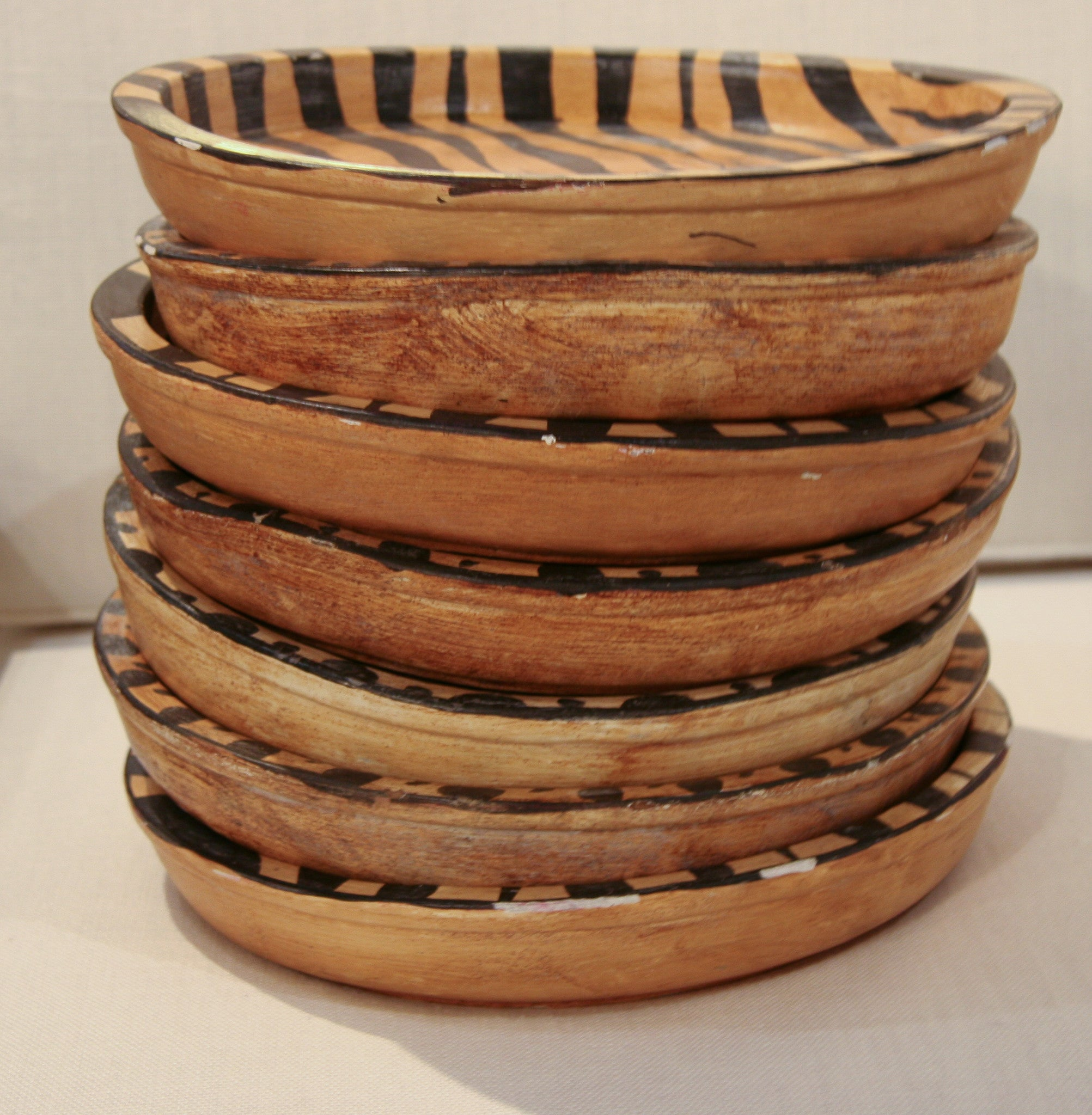 Vintage Set of 7 Wood Animal Print Chargers, Dishes