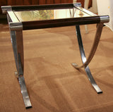 Mid Century Chrome Criss Cross Leg Table