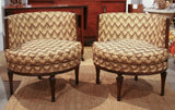 Mid Century Pair, Round Back Chairs - Original Crewel Stitch Fabric