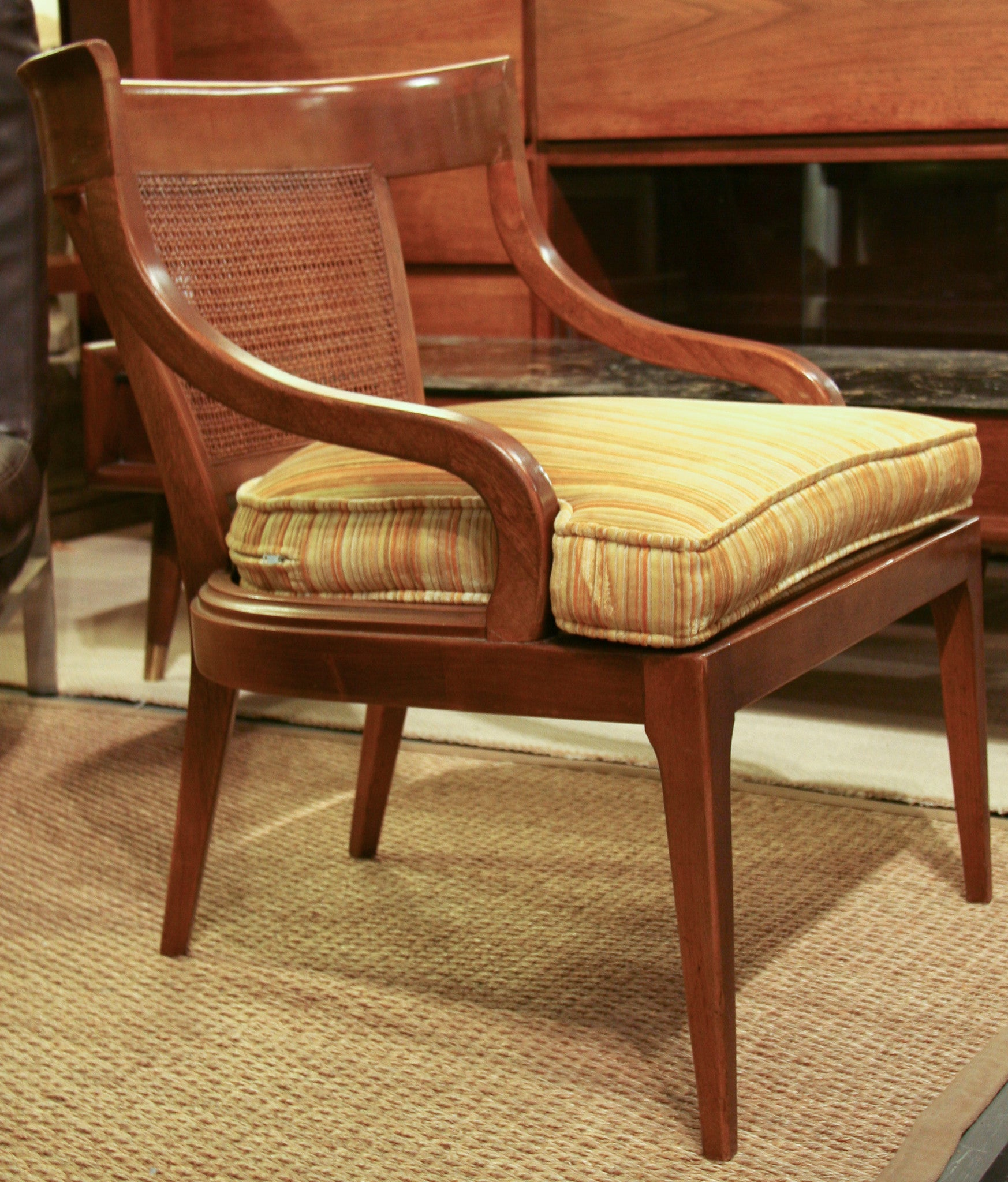 Mid Century Caned Back Arm Chairs