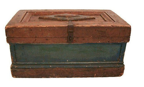 Antique wood, painted chest trunk