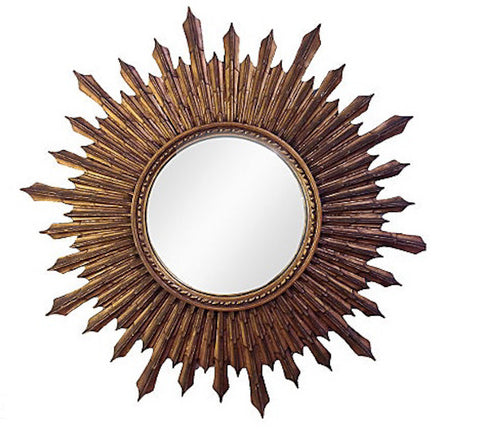 Antique Large, Wood Starburst Convex Mirror