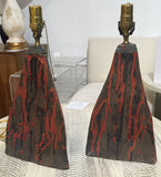Pair, Drip Glaze Pottery Lamps