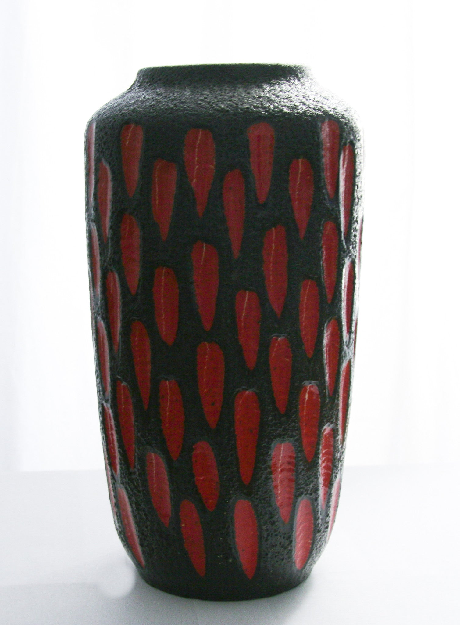 Mid century Scheurich red/black West German Vase