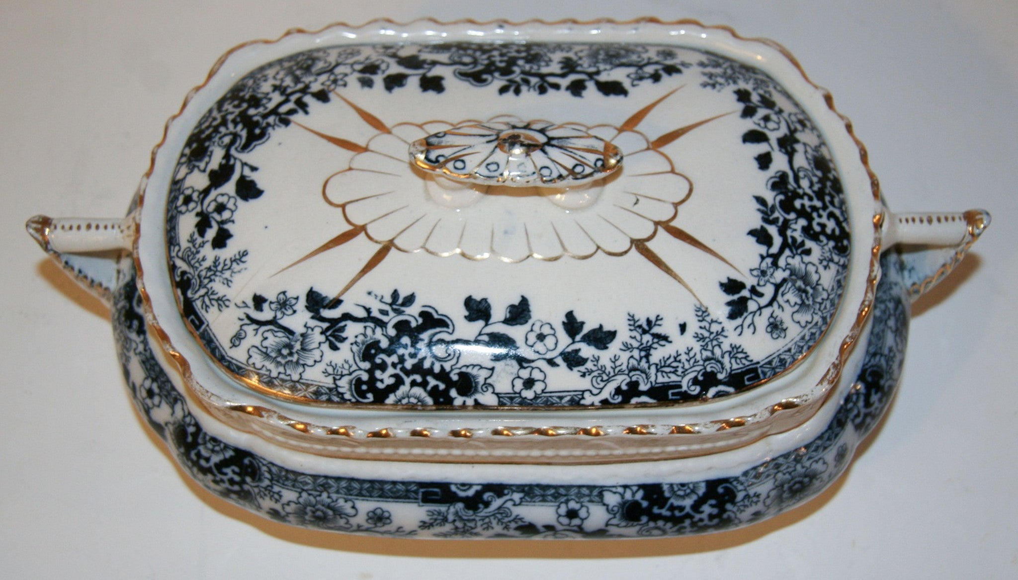 Antique Stoke Flow Blue Serving Dish