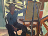 Mid Century L. Budd Oil on Canvas - Man Painting at Easel