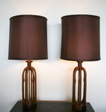 Pair, Mid Century Wood Spindle Lamps